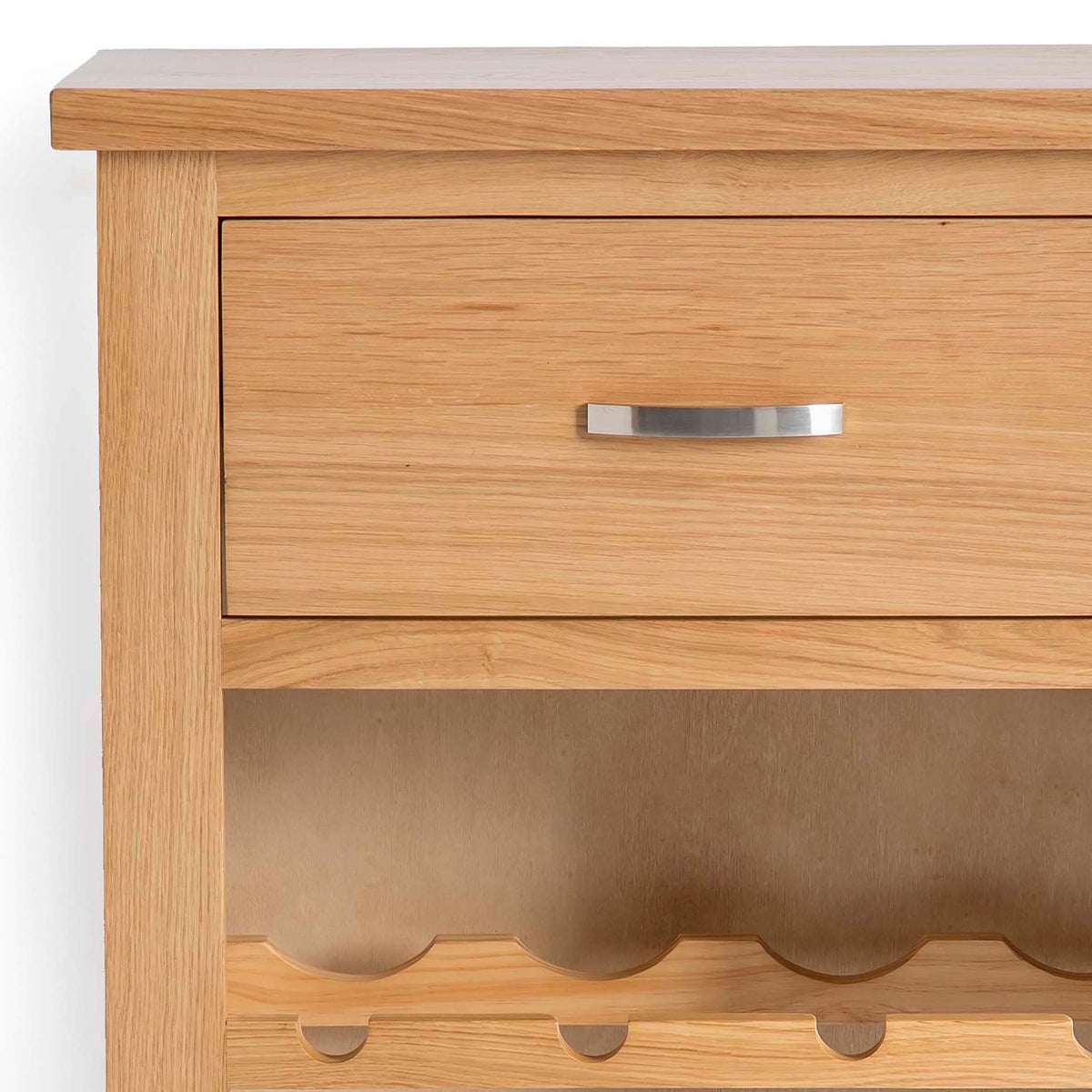 London Oak Wind Rack Cabinet - Close up of drawer and top of wine rack