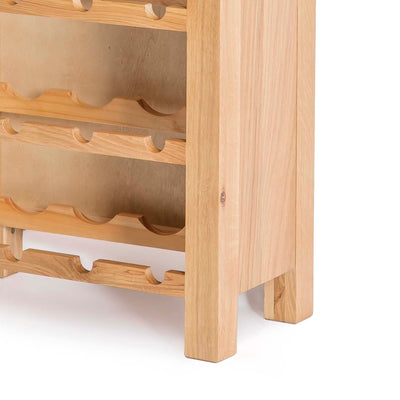 London Oak Wind Rack Cabinet - Close up of wine rack