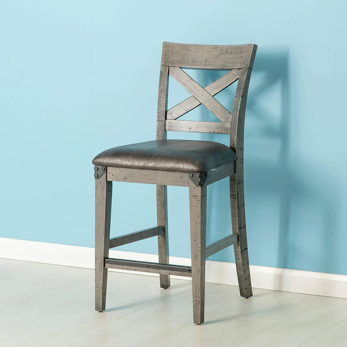 Brooklyn Industrial Cross Back Bar Stool from Roseland Furniture