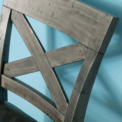close up of cross section on the Brooklyn Cross Back Bar Stool