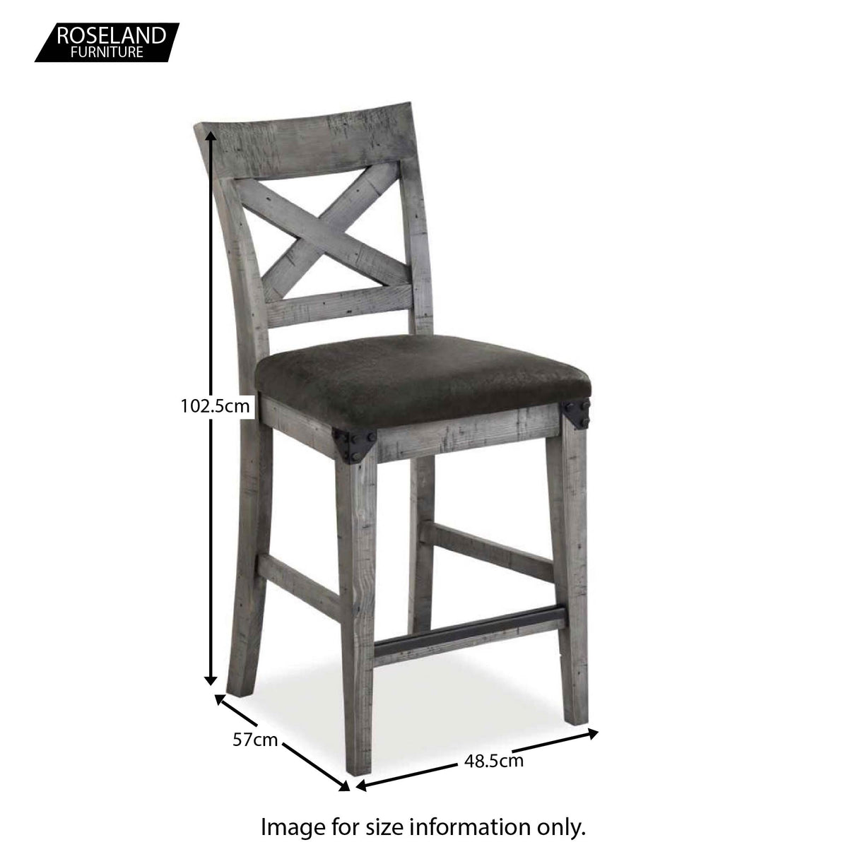 Dimensions for the Brooklyn Industrial Grey Bar Chair Stool