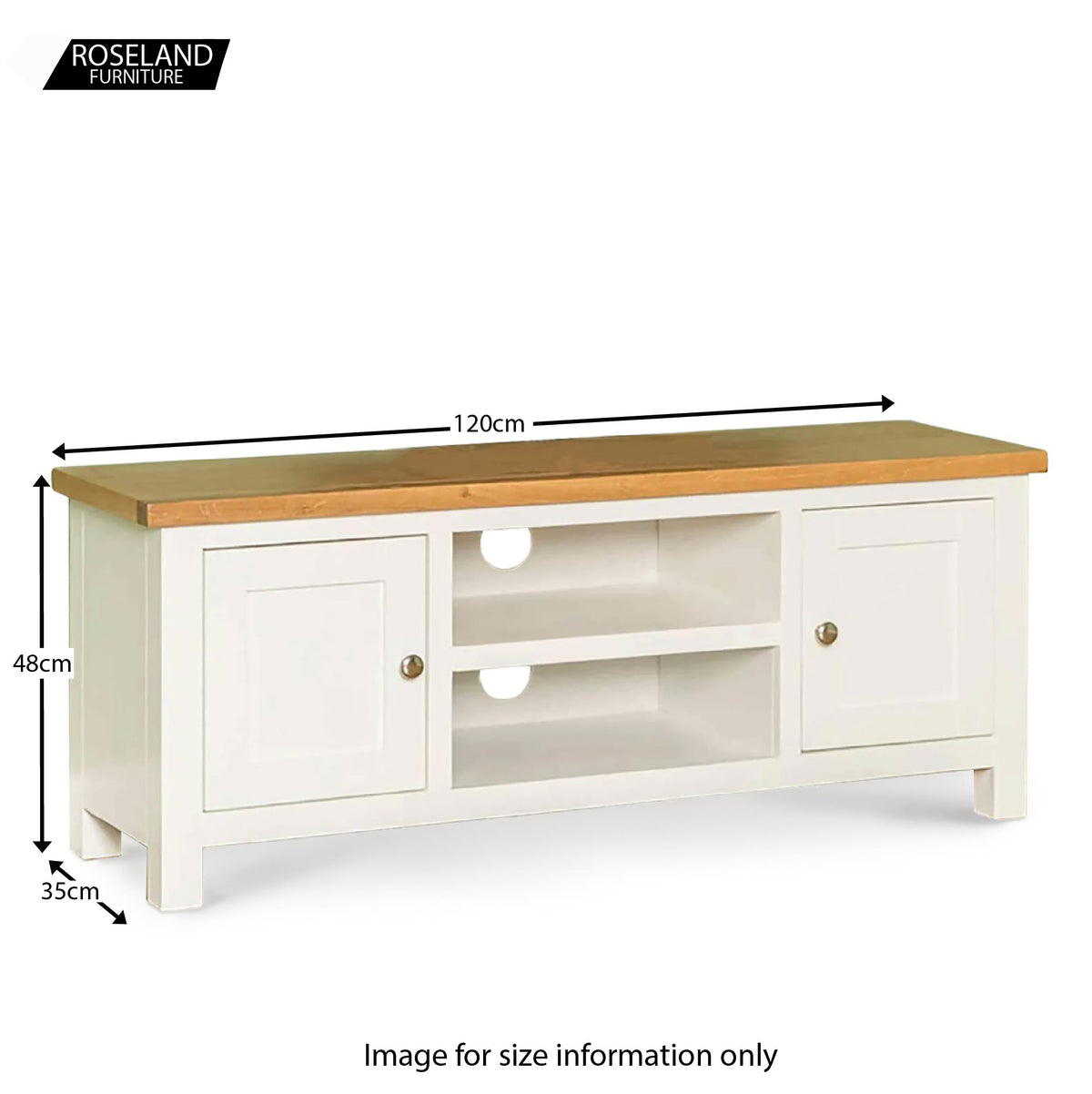 Farrow white 120cm TV Stand - Size Guide