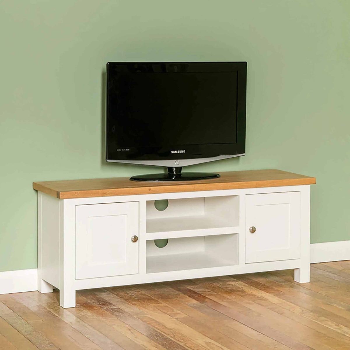 Farrow white 120cm TV Stand - Lifestyle side view