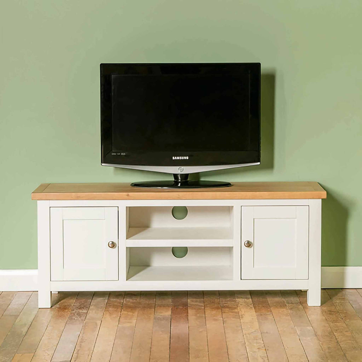 Farrow white 120cm TV Stand - Lifestyle front view