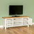 Farrow white 120cm TV Stand - Lifestyle with doors open