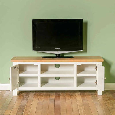 Farrow white 120cm TV Stand - Lifestyle front view with doors open