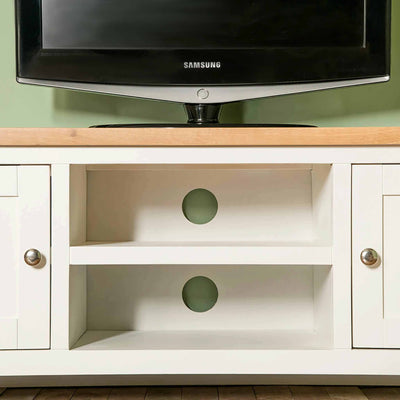 Farrow white 120cm TV Stand - Cable access points
