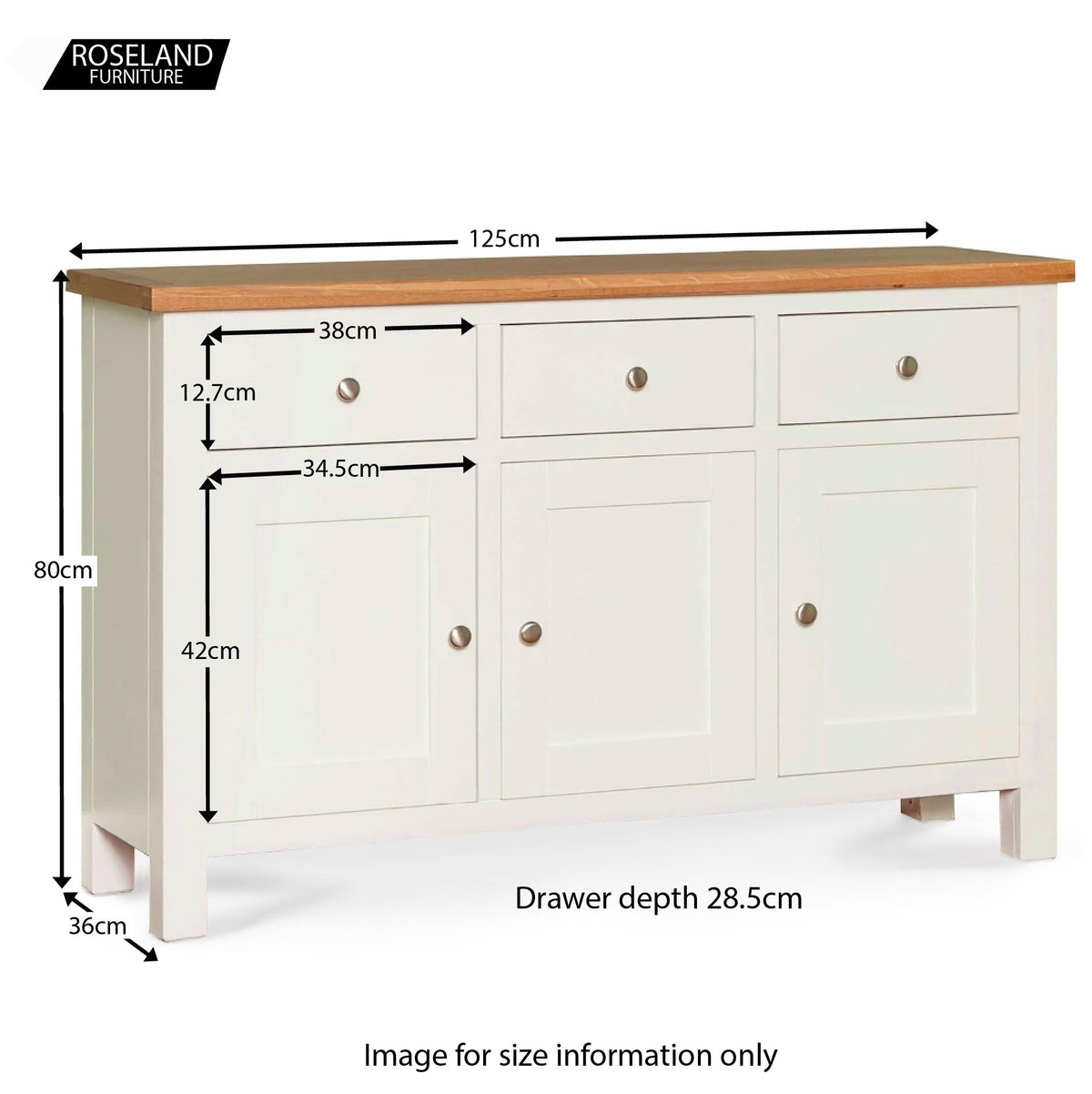 Farrow White Large Sideboard - Size Guide