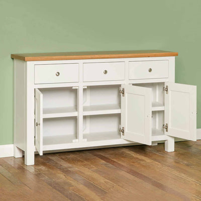 Farrow White Large Sideboard - Lifestyle side view with doors open