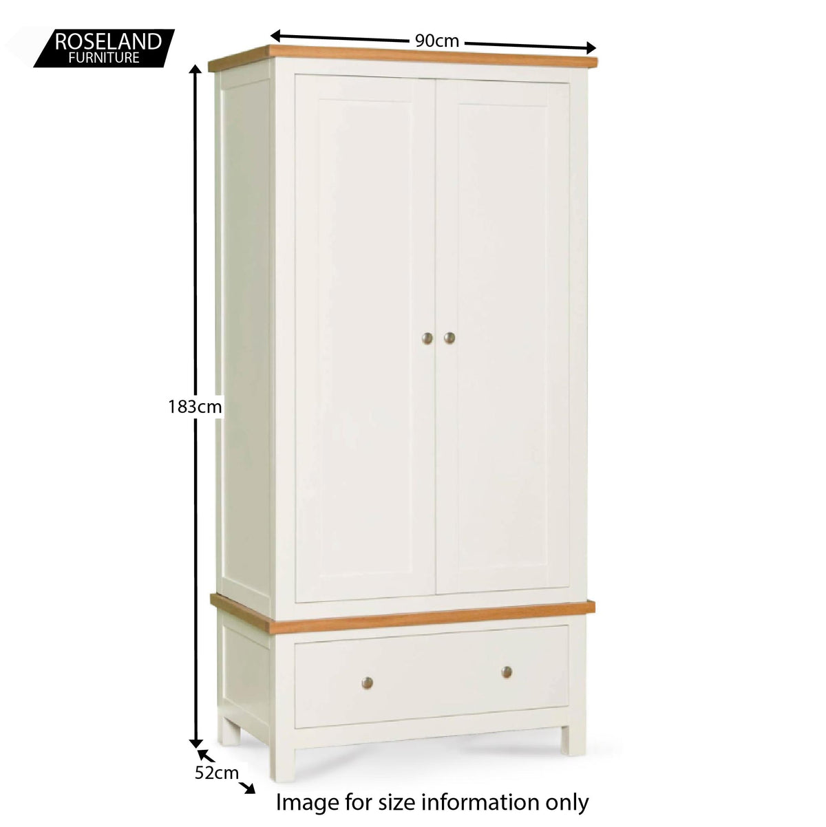 Farrow White Double Wardrobe - Size Guide