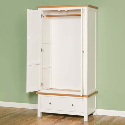 Farrow White Double Wardrobe - Lifestyle side view with doors open