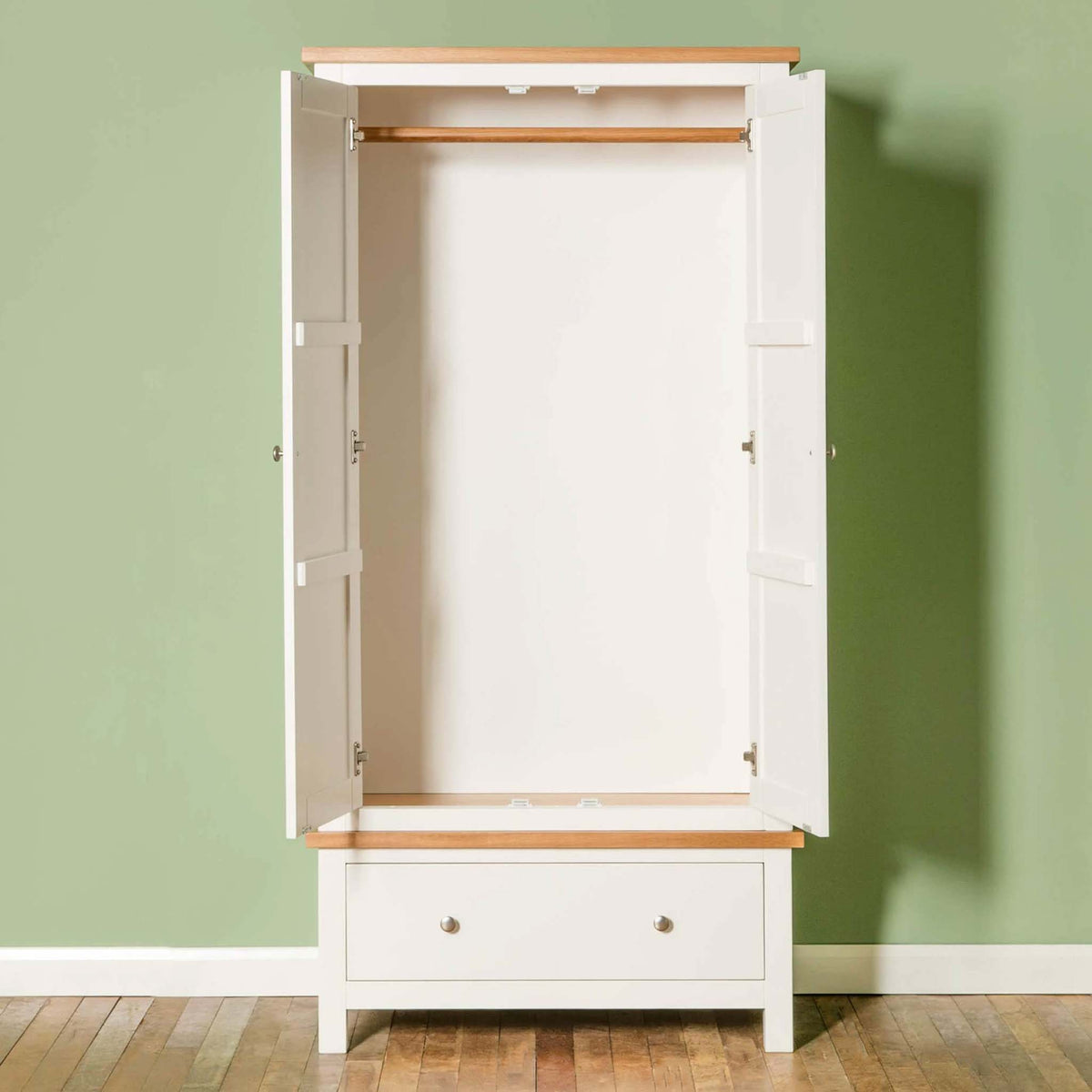 Farrow White Double Wardrobe - Lifestyle front view with doors open