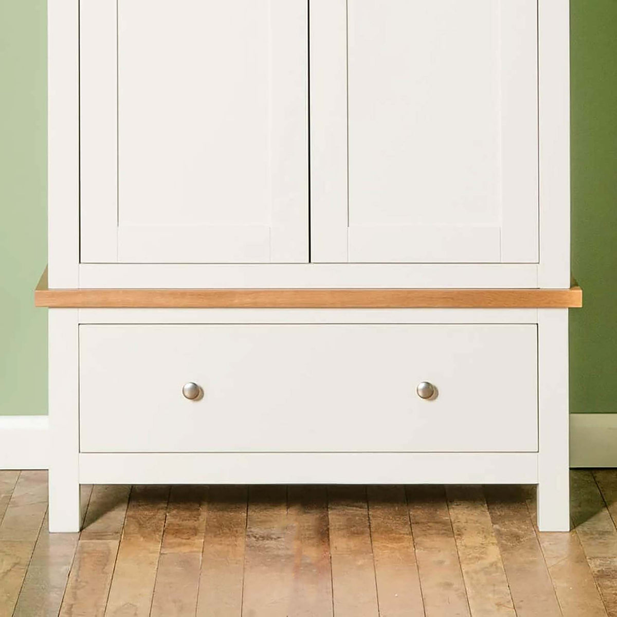 Farrow White Double Wardrobe - Close up of lower drawer
