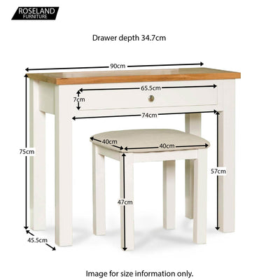 Farrow White Dressing Table Set - Size Guide for Dressing Table and Stool