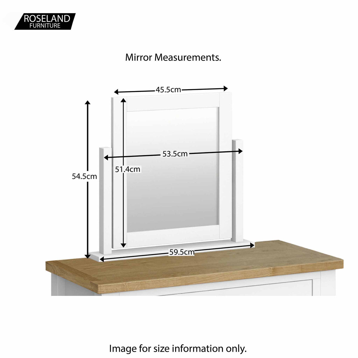 Farrow White Dressing Table Set - Size Guide for Mirror