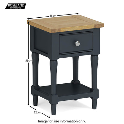 Chichester Lamp/Side Table in Charcoal - Size Guide