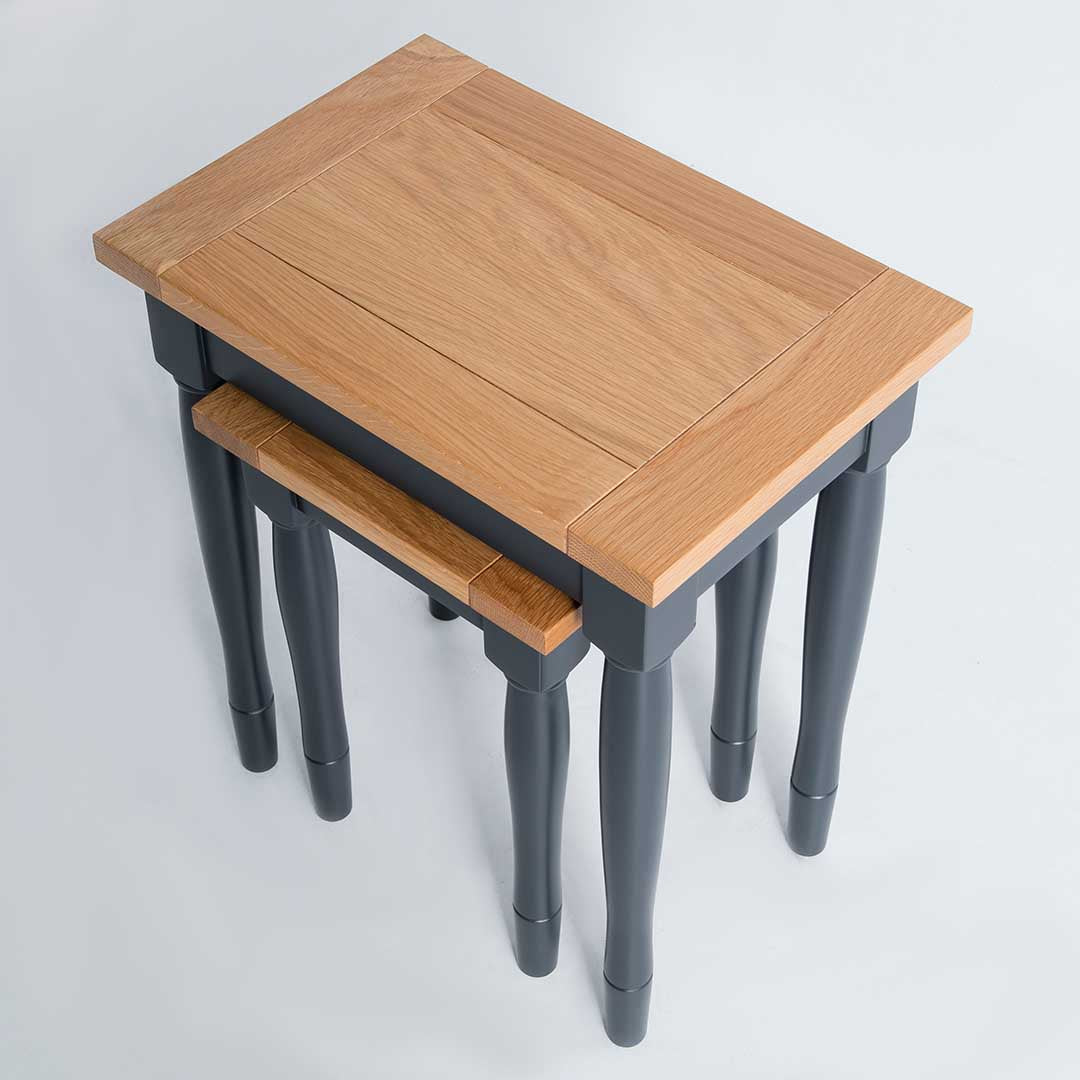 Topside view of the Chichester Black Living Room Nesting Side Tables