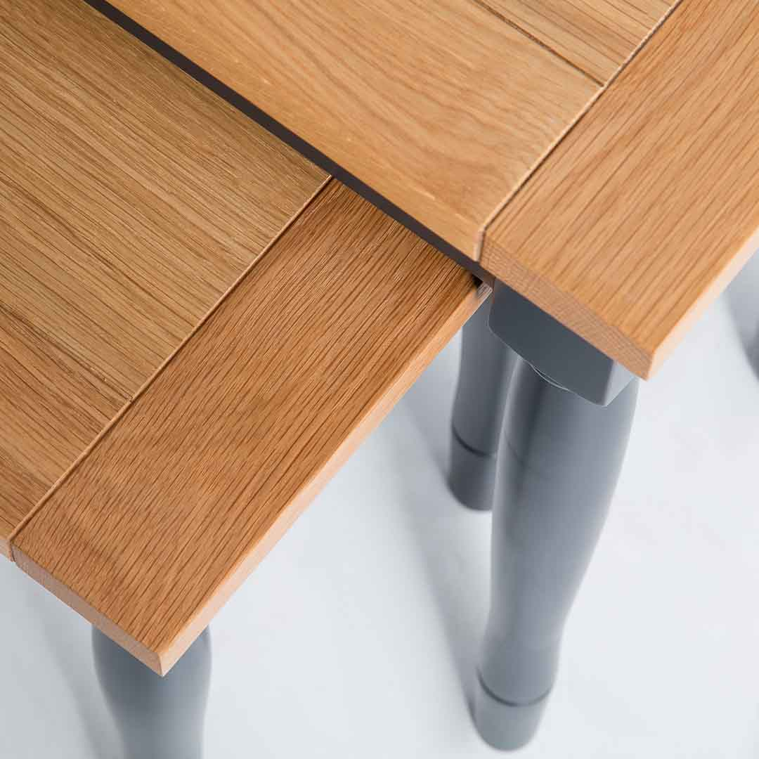 Close up of the oak top on the Chichester Charcoal Nest of Tables