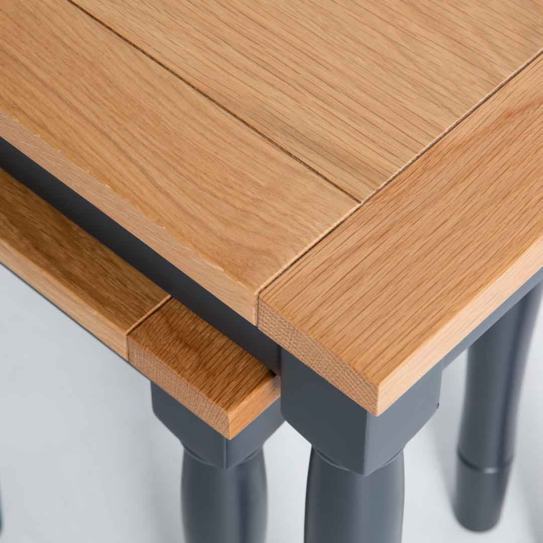 Close up of the oak table tops on the Chichester Charcoal 2 Nested Tables