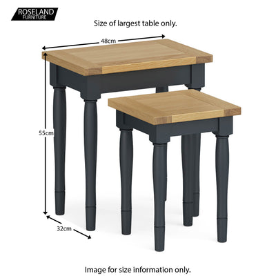 Chichester Nest of Tables in Charcoal - Size Guide