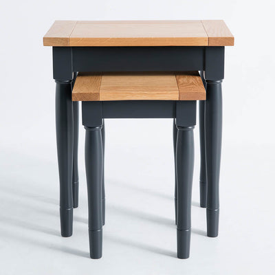 Front view of the Chichester Charcoal 2 Nested Tables