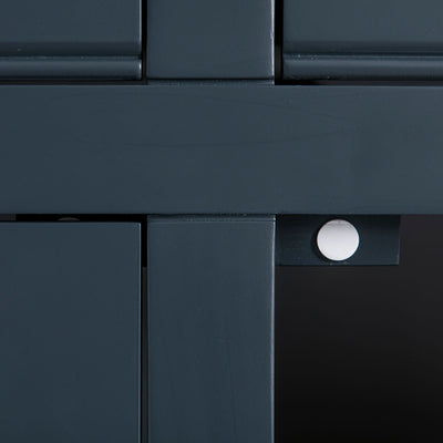 Close up of the black painted solid wood frame on the Chichester Charcoal Small Sideboard