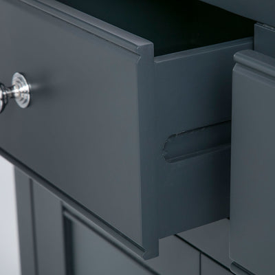 Close up of the black painted wooden drawer runners on the Chichester Charcoal Small Sideboard