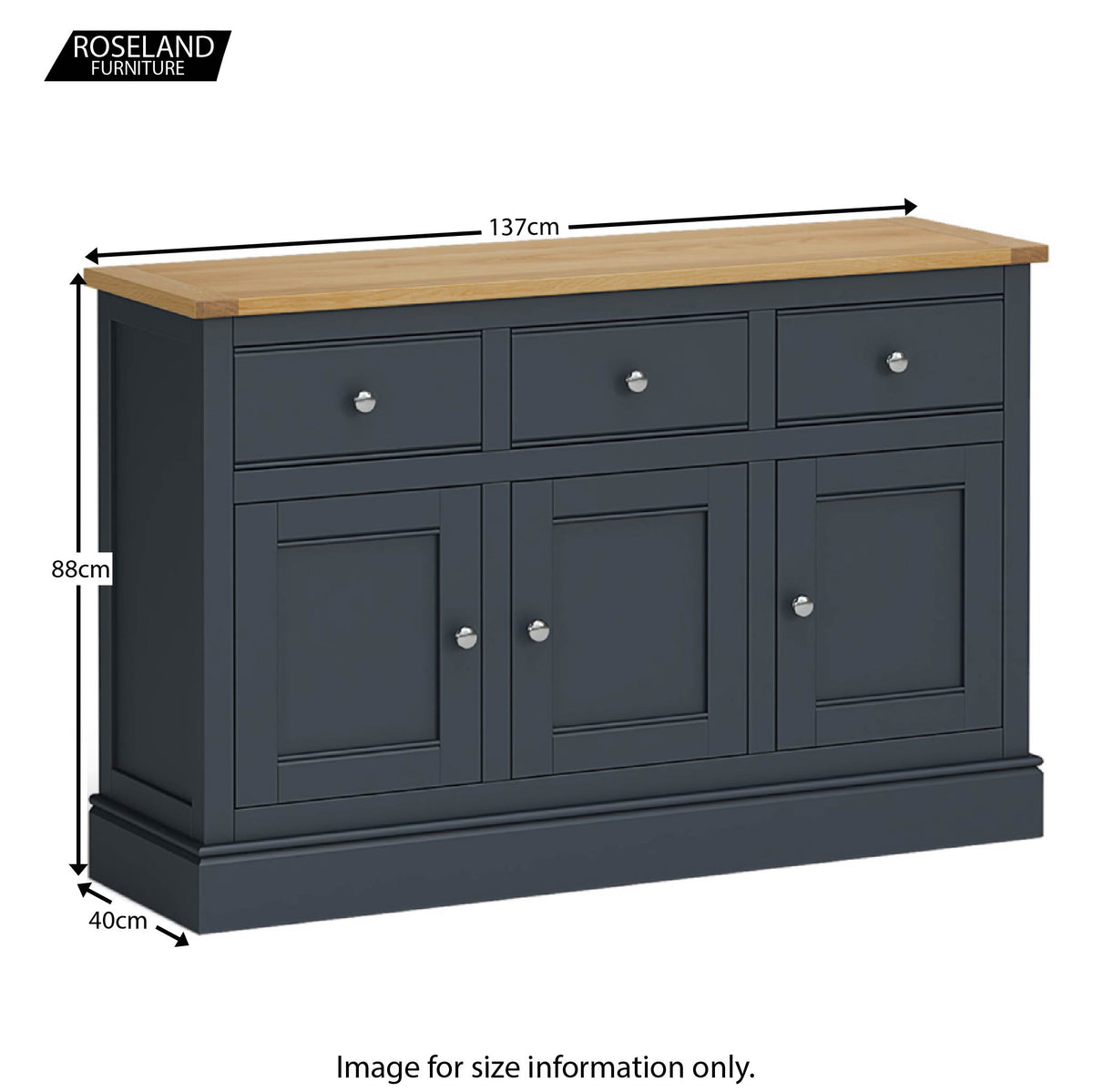 Chichester Large Sideboard in Charcoal - Size Guide