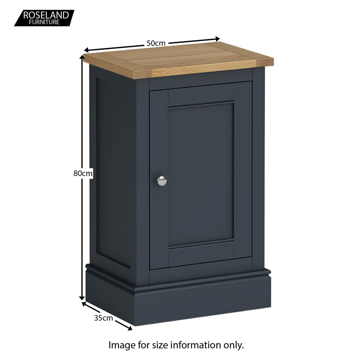 Chichester Mini Cupboard in Charcoal  - Size Guide
