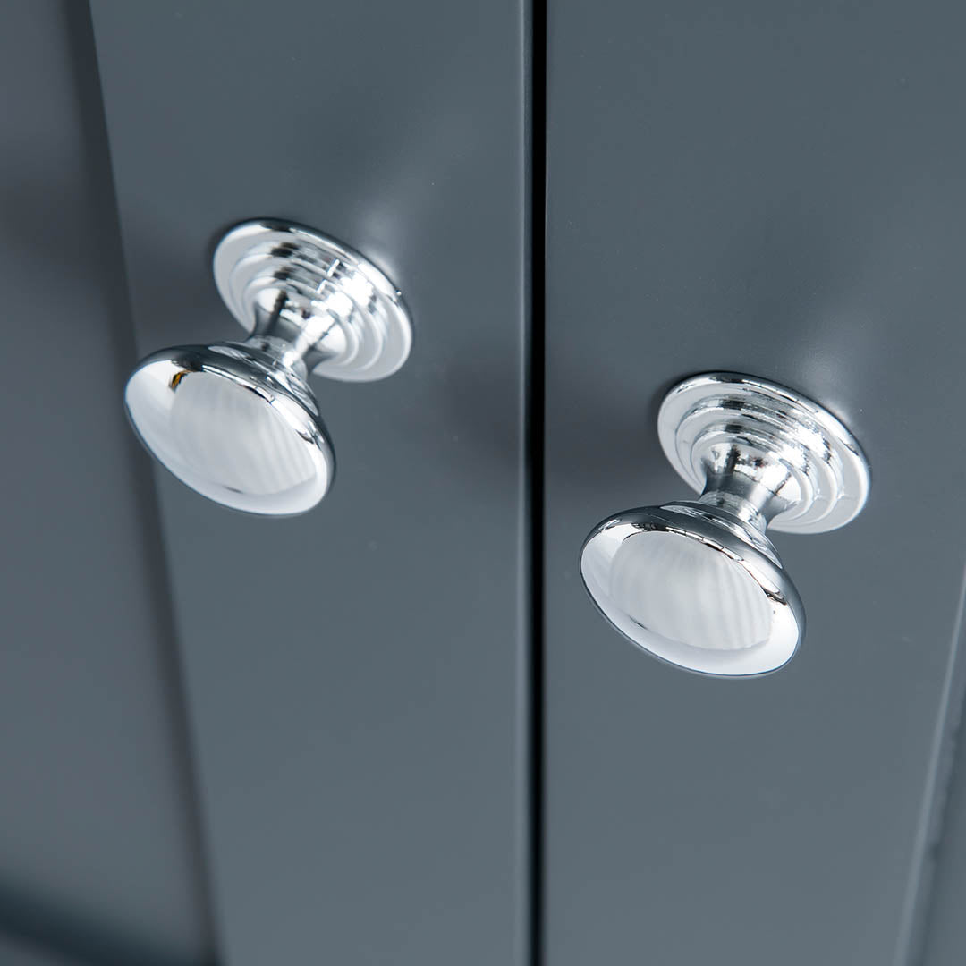 Close up of the round metal handles on the Chichester Charcoal Black Corner Cupboard