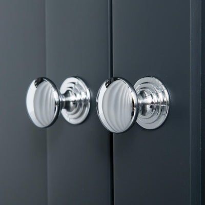 Close up of the round silver handles on the Chichester Charcoal Black Corner Cupboard