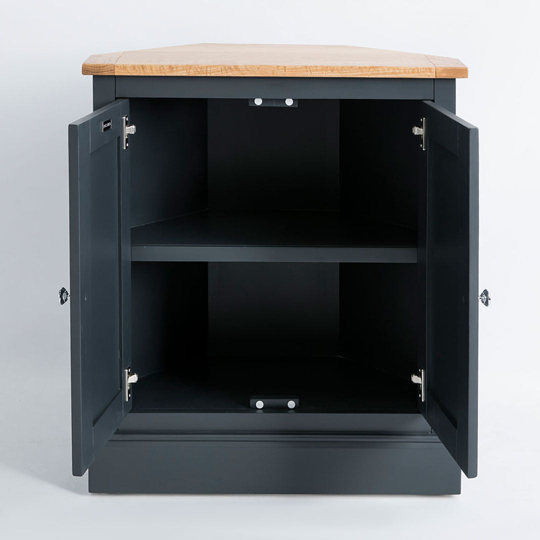 Internal view of the Chichester Charcoal Black Corner Cupboard