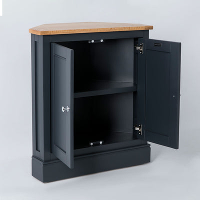 Opened door side view of the Chichester Charcoal Black Corner Cupboard