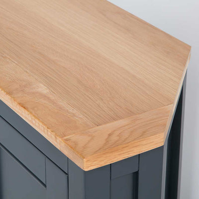 Close up of the oak top on the Chichester Charcoal Black Corner Cupboard