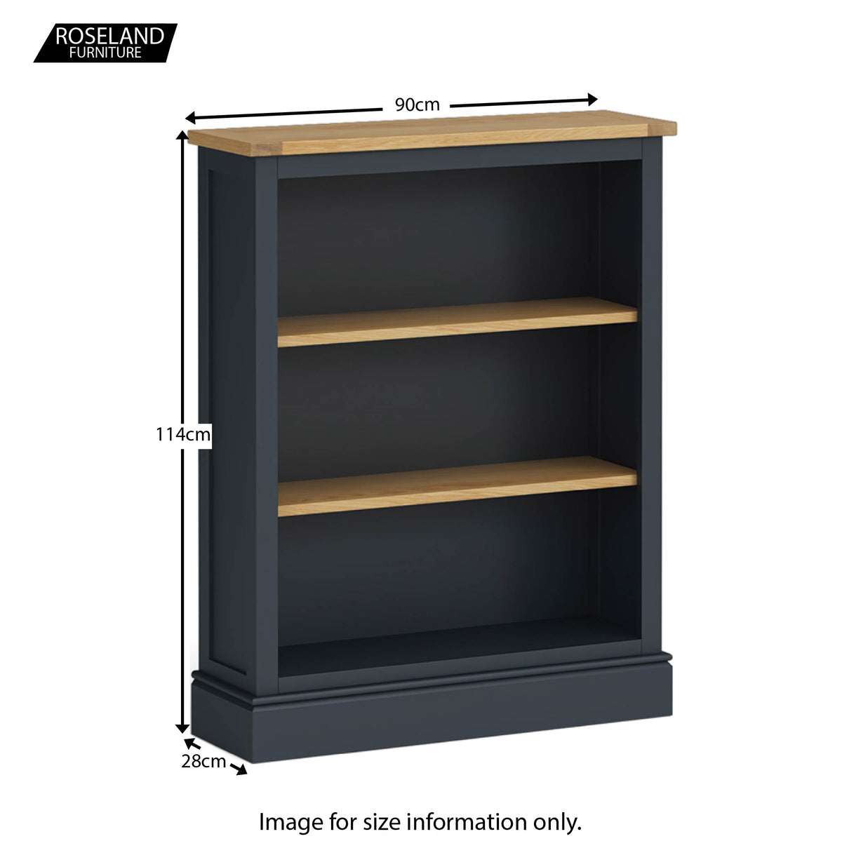 Chichester Small Bookcase in Charcoal - Size Guide