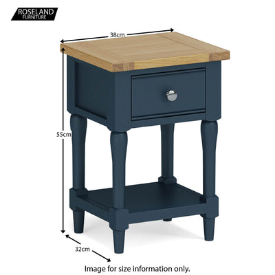 Chichester Lamp/Side Table in Stiffkey Blue - Size Guide