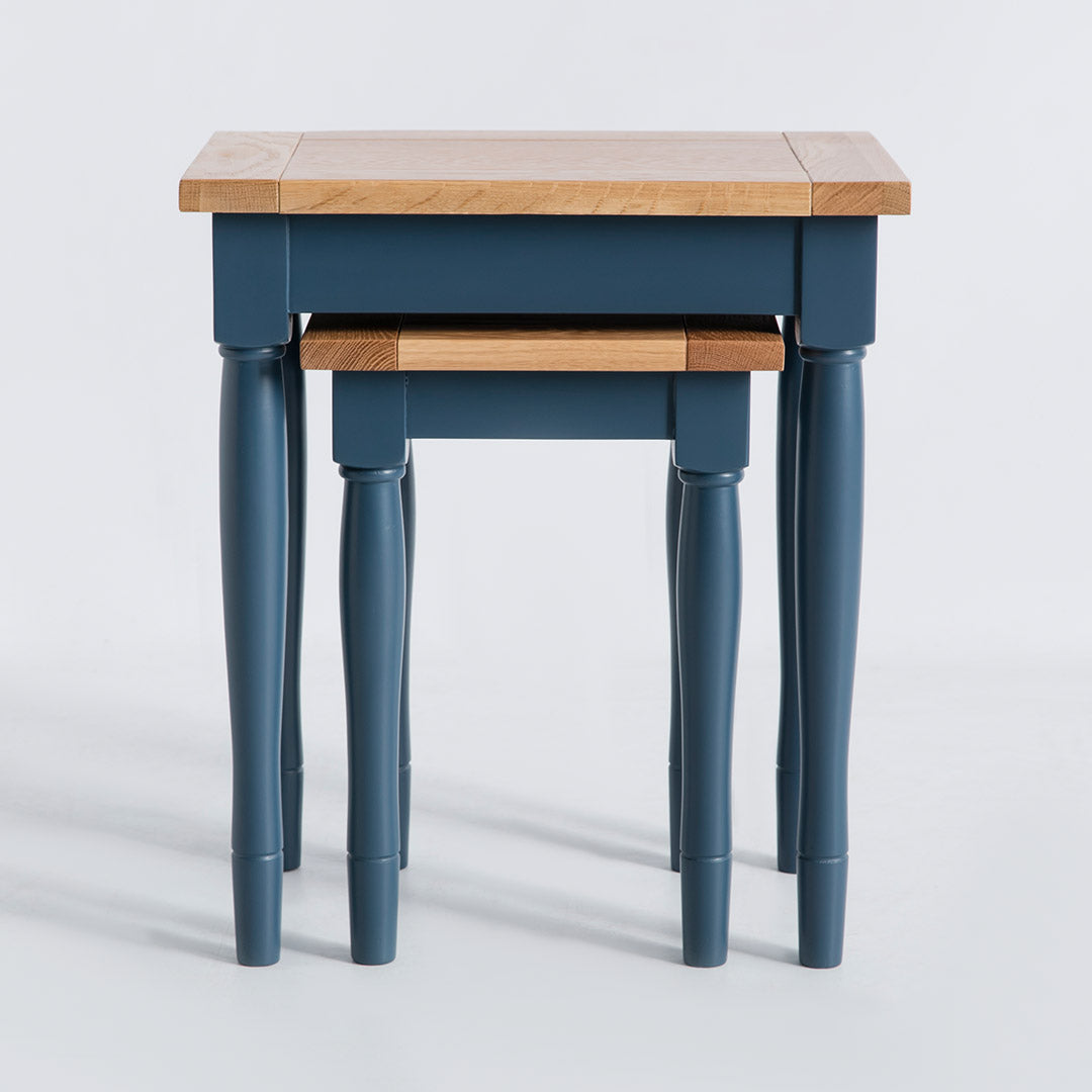Front view of the Chichester Stiffkey Blue Nest of Tables