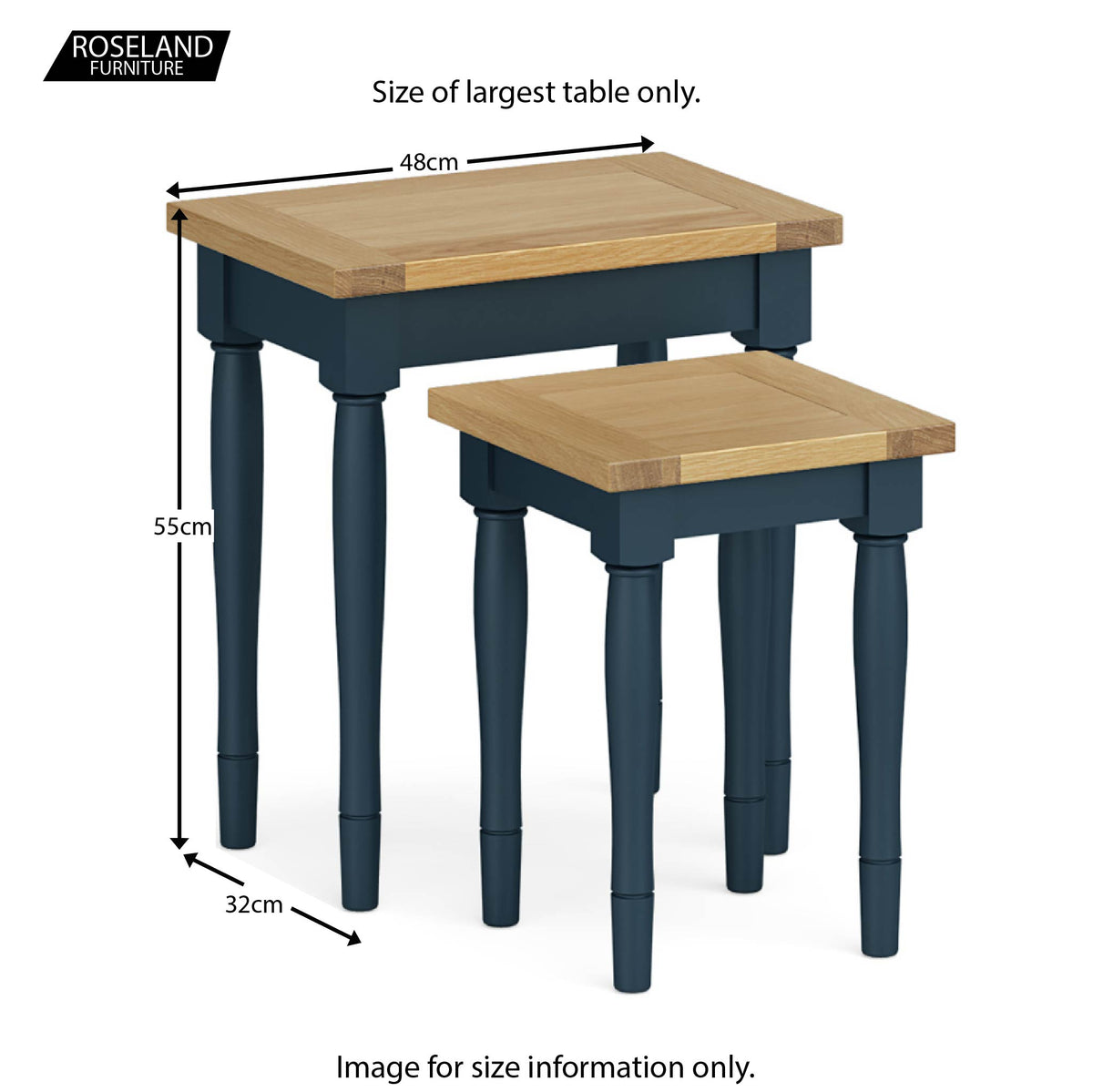 Chichester Nest of Tables in Stifkey Blue - Size Guide