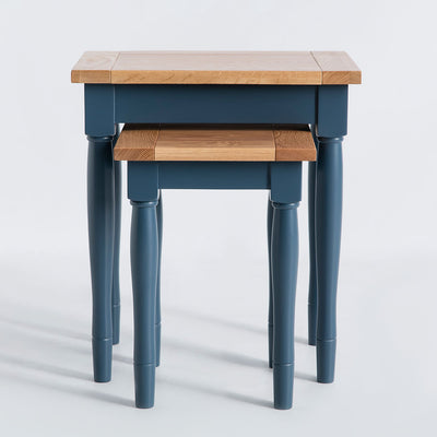 Unstacked front view of the Chichester Stiffkey Blue Nest of Tables
