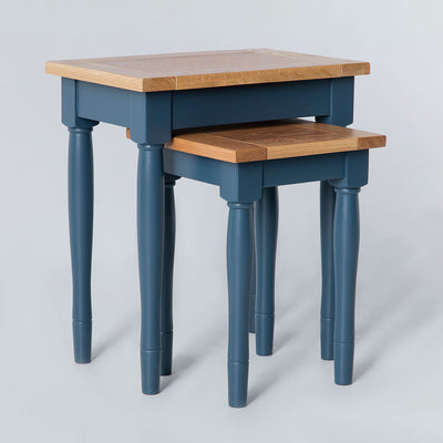 Unstacked side view of the Chichester Stiffkey Blue Nest of Tables