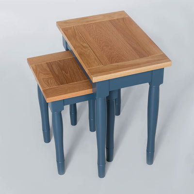 Unstacked top view of the Chichester Stiffkey Blue Nest of Tables