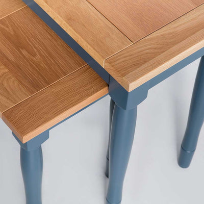 Close up of oak tops on the Chichester Stiffkey Blue Nest of Tables