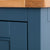 Close up of the painted blue solid wood frame on the Chichester Stiffkey Blue Mini Cupboard