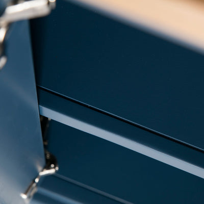 Close up of the fixed shelf on the Chichester Stiffkey Blue Corner Cupboard