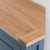 Close up of the oak top on the Chichester Stiffkey Blue Corner Cupboard