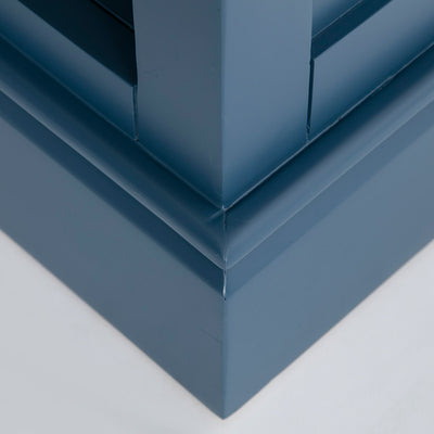 Close up of the plinth base on the Chichester Stiffkey Blue Grey Low Bookcase