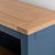 Close up of the oak top on the Chichester Stiffkey Blue Grey Small Bookcase