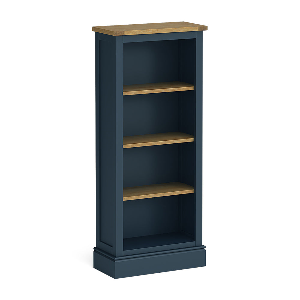 Chichester Slim Bookcase in Stiffkey Blue by Roseland Furniture