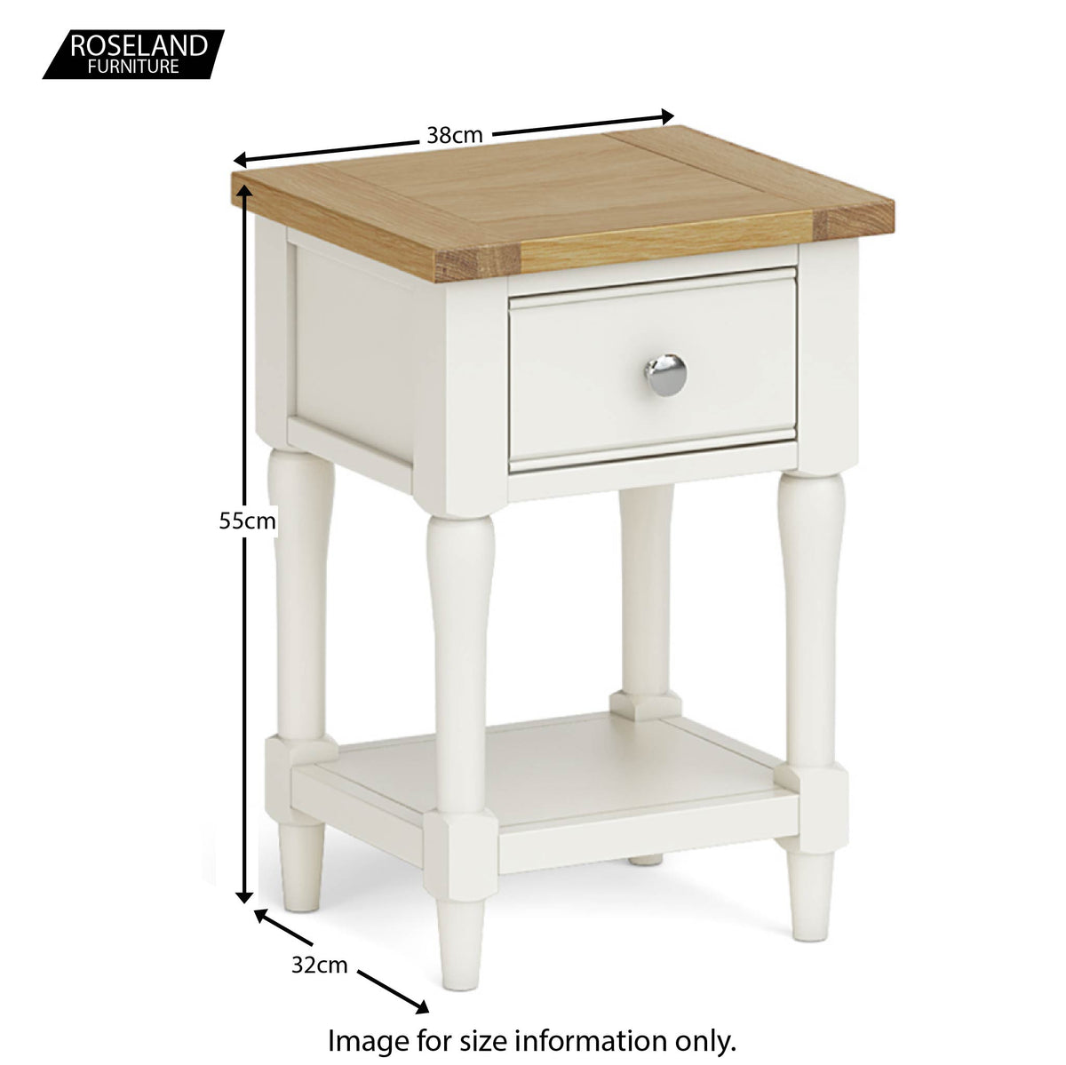 Chichester Lamp/Side Table in Ivory - Size Guide