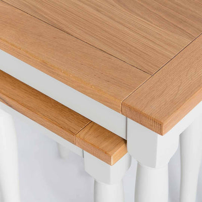 Close up of the oak tops  on the Chichester Ivory 2 Nested Tables